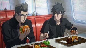 noctis and ignis in a diner