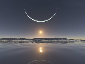 a sliver of moon