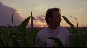 "kevin costner in a corn field from the movie ""field of dreams"""