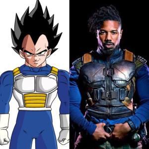 a side-by-side- comparison of vegeta & killmonger's armor