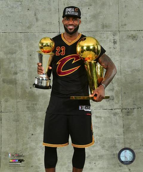 lebron with the 2016 nba finals championship & mvp trophies