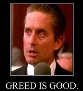 a meme of michael douglas as gordon gekko. the text reads greed is good