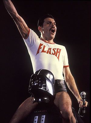 freddie mercury in a flash gordon t-shirt
