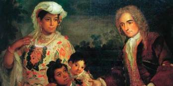 painting of spanish man, ingeigenous woman and their kids who are mestizos