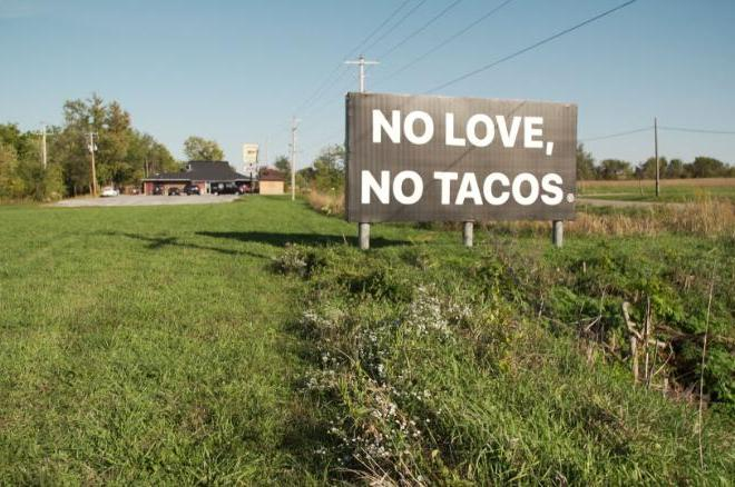 no love no tacos sign vocabulario en ingles