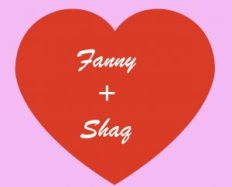 a red heart with the text fanny + shaq