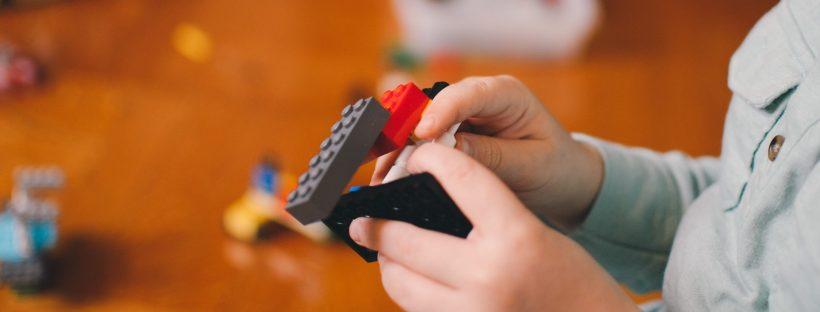 child building with interlocking building blocks