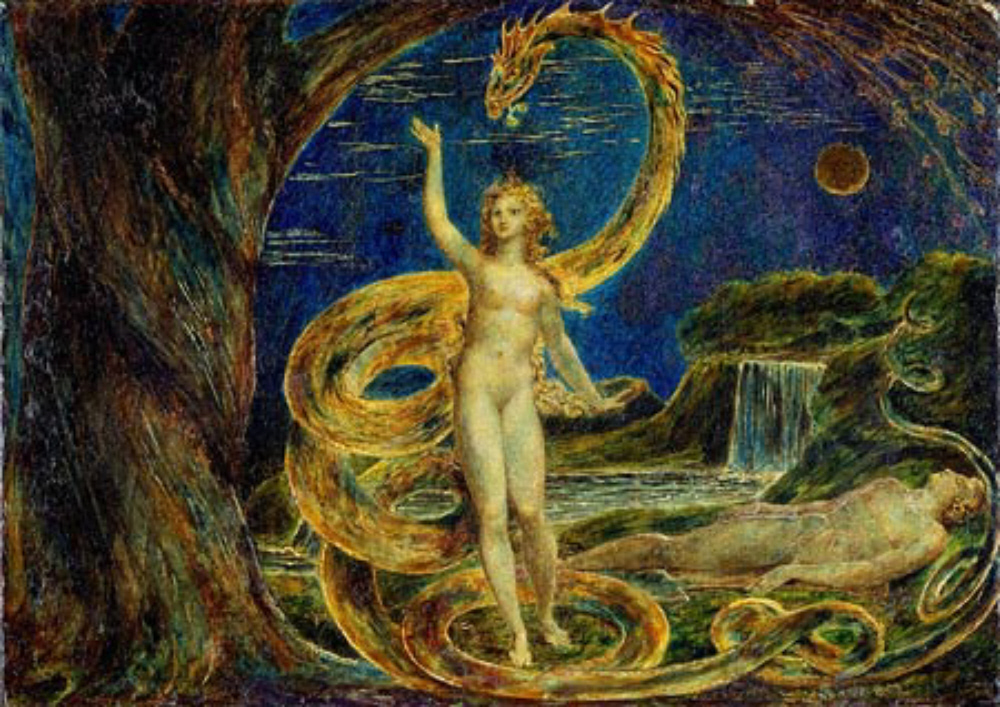 Adam and Eve in the Garden of Eden while the serpent tempts Eve
