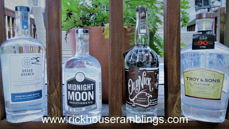 Broad Branch Nightlab 1.0, Midnight Moon Moonshine, Old Nick Williams Carolina Whiskey and Troy & Sons Platinum Whiskey