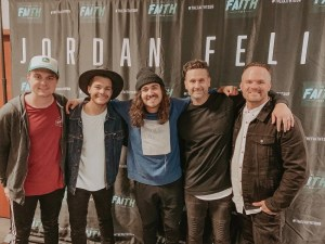 North Point Worship members traversed the nation this past fall on The Faith Tour with Jordan Feliz.  Pictured (l-r) are Alex Thompson, Clay Finnesand, Jordan Feliz, Heath Balltzglier and Brandon Coker.
