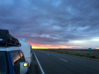 Sunrise, heading out of Moab.