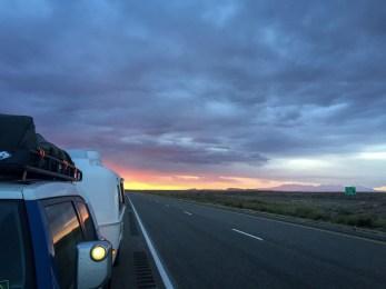 Sunrise, heading out of Moab.