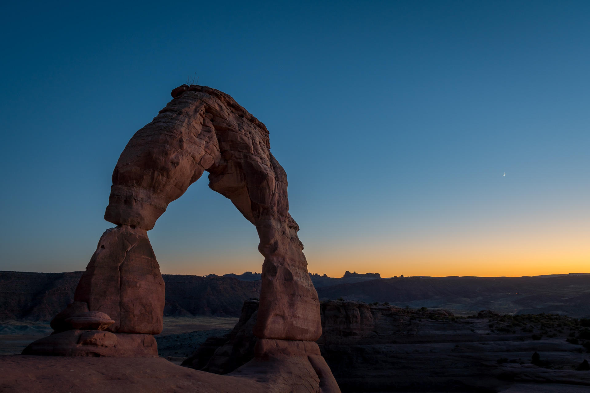 Delicate Arch, with moon