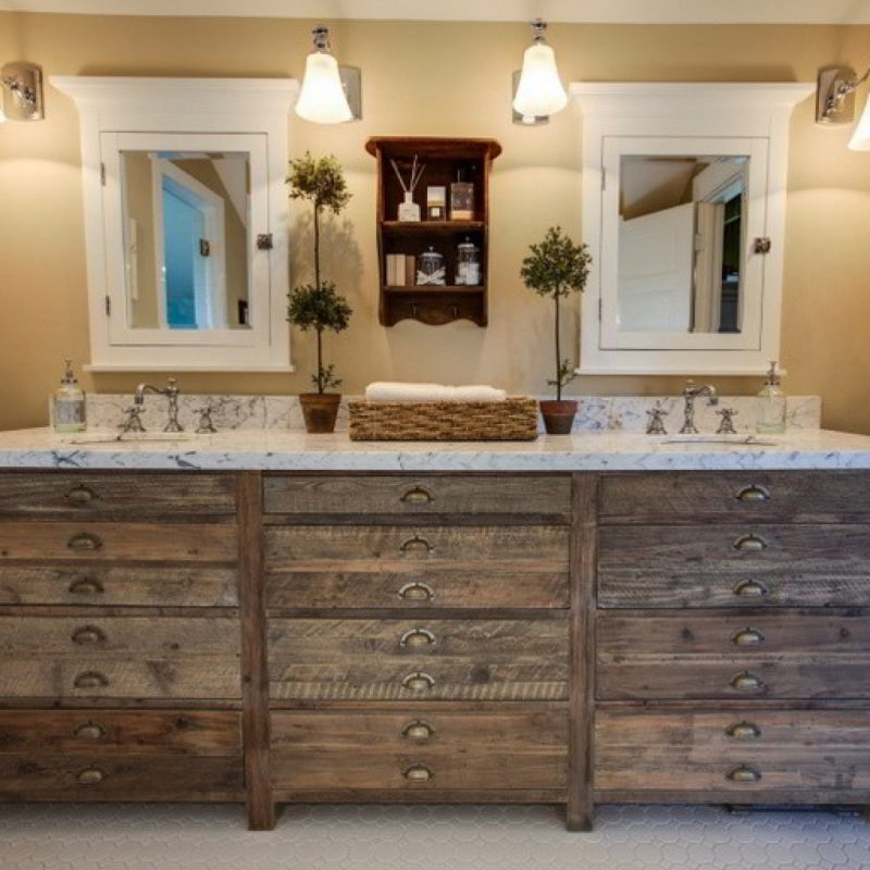 three closet on rustic bathroom vanities