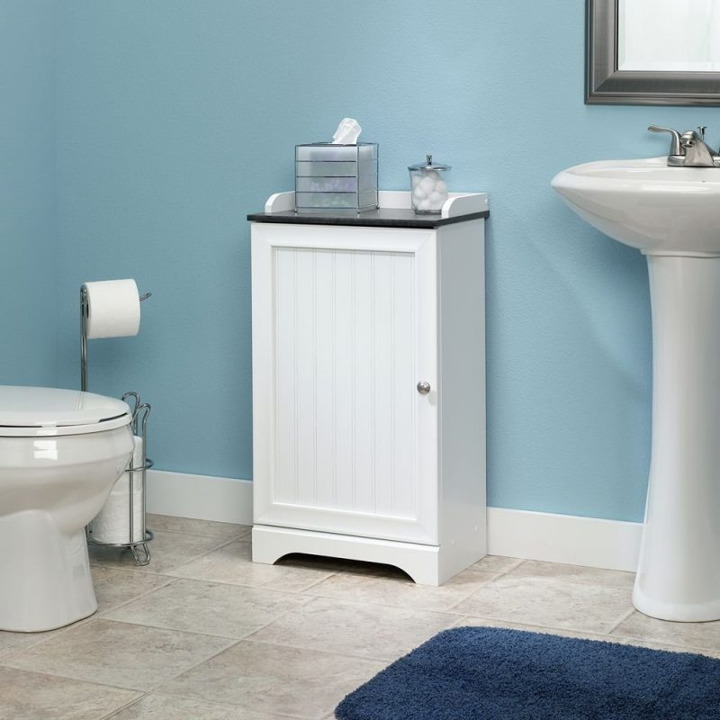 another freestanding pedestal sink storage