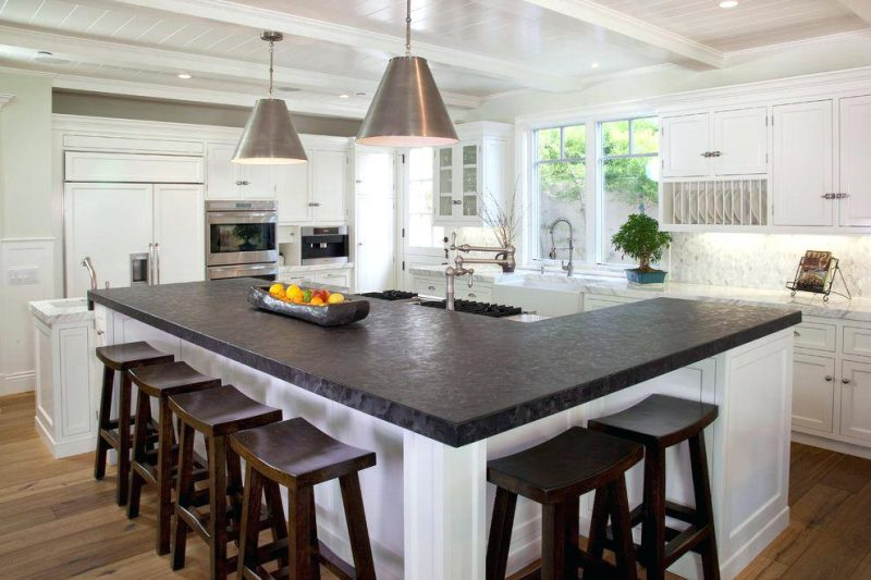 kitchen island layout with wooden bench