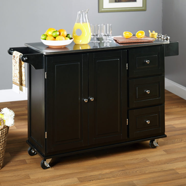 rigid design kitchen island with wheels