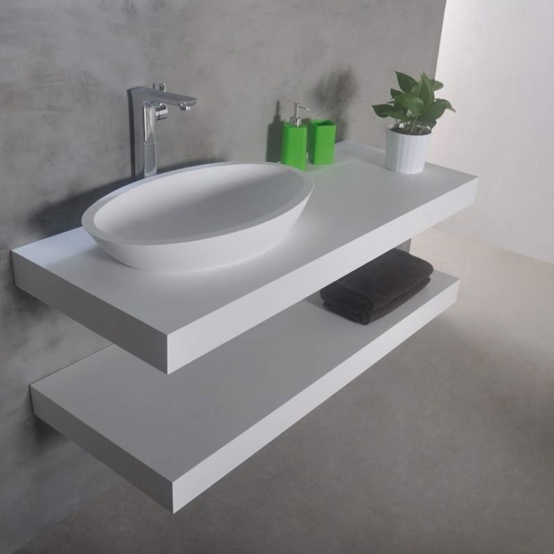 bathroom vanity with tops and shelves