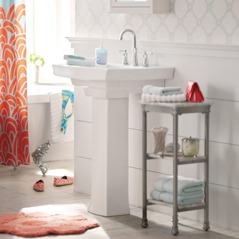 pedestal sink storage with metal shelves