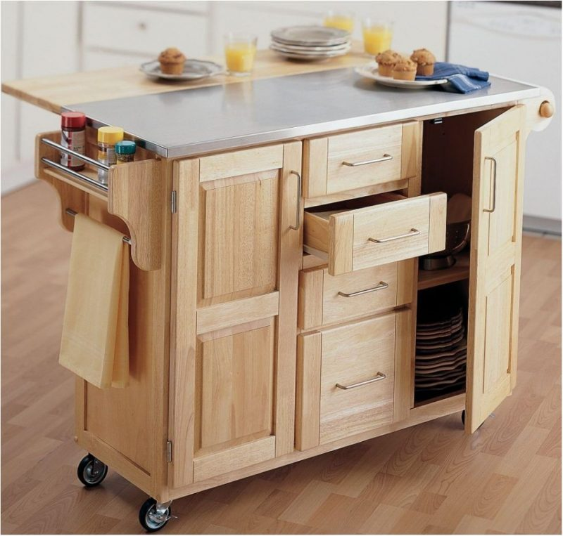 simple design for kitchen island with wheels