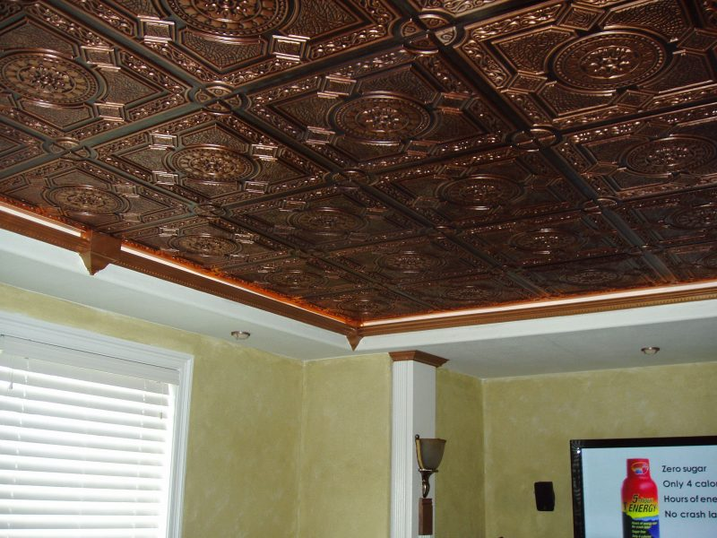 wooden details on basement ceiling ideas