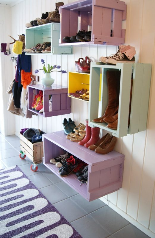 Colorful box Shoe Rack Ideas