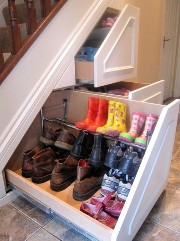 Shoe Rack Ideas under the stairs