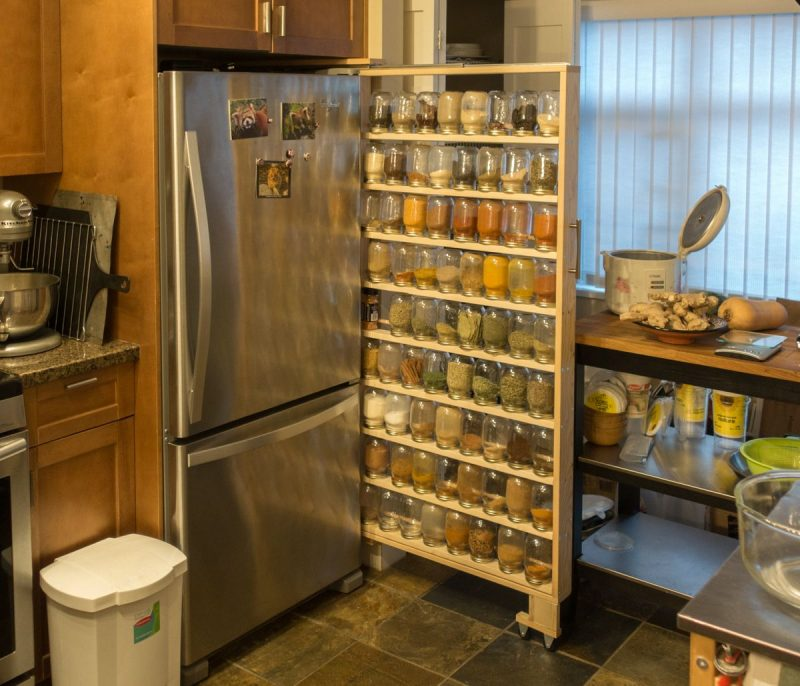 spice rack ideas near the fridge