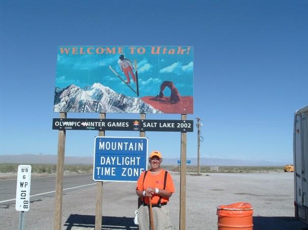 Rick as he stands at the Nevada-Utah border