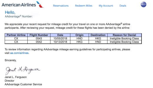 提携航空会社でマイル獲得申請却下 Mileage credit has been denied by the airline due to the booking class
