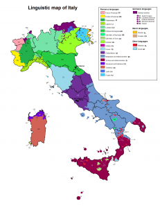 dialects in Italy, linguistic map of Italy
