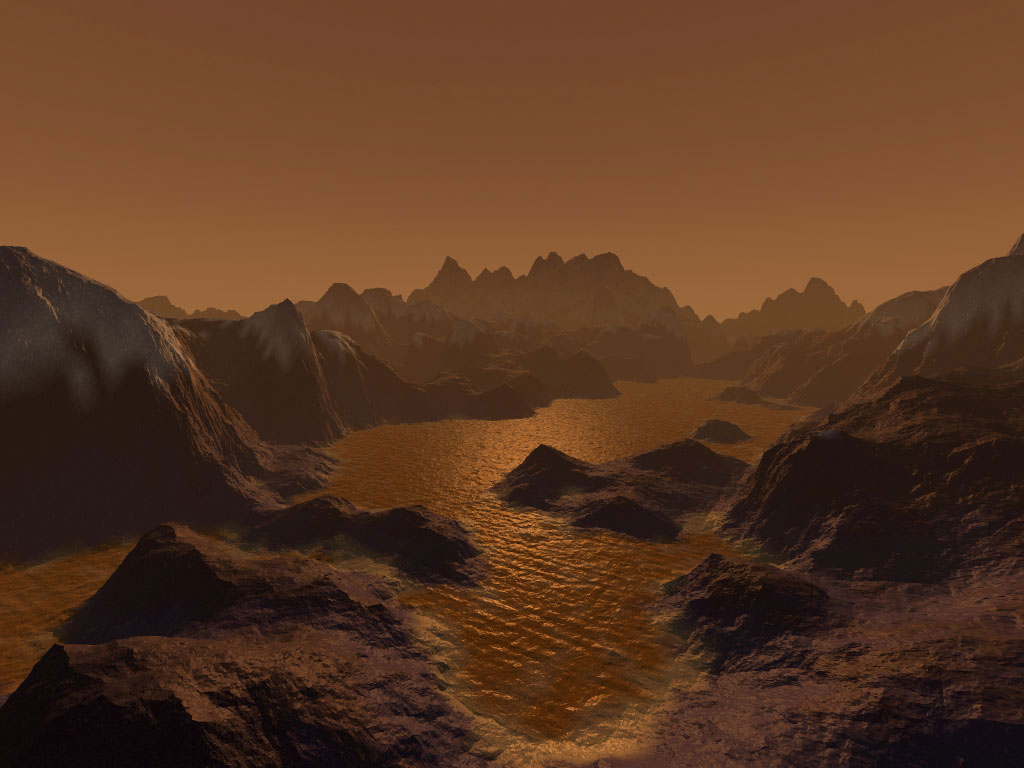 Artist rendering of the liquid methane seas on Titan's surface Credit: nasa.gov