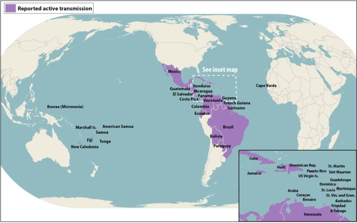 Distribution of Zika Virus as of April 2016 (courtesy of the CDC)