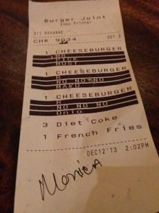 Burger Joint order