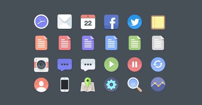 24 iconos flat