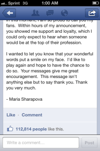 Sharapova Facebook 3