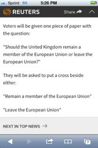 Reauter: Brexit 6-23-16