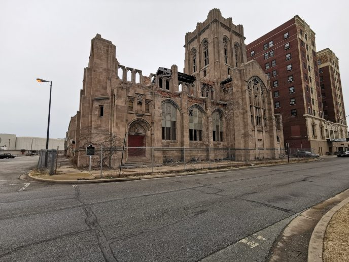 Exterior of derelict church