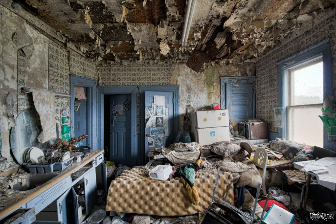 Decrepit Kitchen of Dangerous Abandoned Country Mansion
