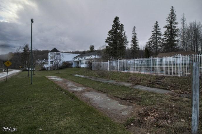 Outside the abandoned resort