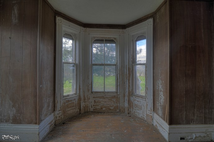 Beautiful windows in the abandoned gothic revival house