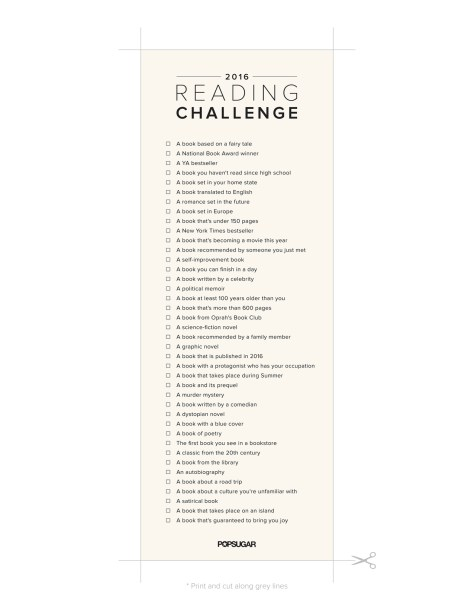 2016 Popsugar Reading Challenge