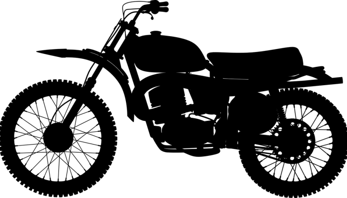 Marché Français de la Moto : dessin en noir d'une moto