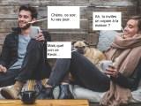 Couple Homme / Femme en train de se détendre avec son chien