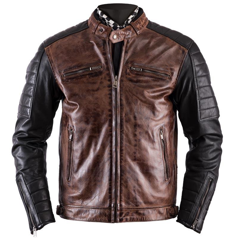 Équipement Moto Vintage : Blouson Moto Helstons Cruiser cuir rag camel noir
