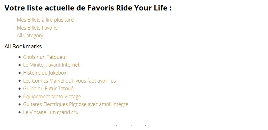 Mes Favoris Ride Your Life