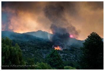 So nah waren wir noch nie dran. Der Wald brennt und das Feuer überbrückt durch den Funkenflug viele Meter. Wir schätzen bis zu hundert. Jetzt verstehen wir auch wie man vom Feuer eingekesselt werden kann.