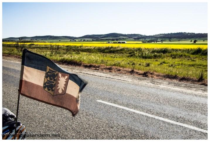 Kurz vor Adelaide erinnert die Landschaft plötzlich an die Heimat. unsere Fahne freut es ;-)