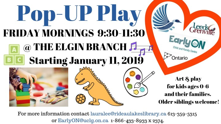 Pop up Play Elgin Branch Friday's 9:30 - 11:30 EON