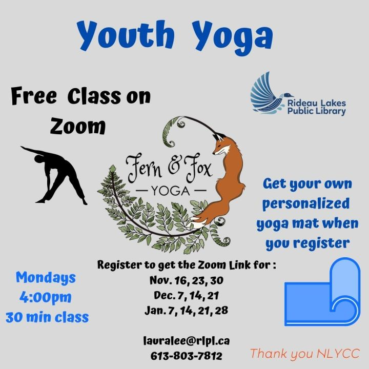 Youth Zoom Yoga - contact lauralee@rlpl.ca for more details